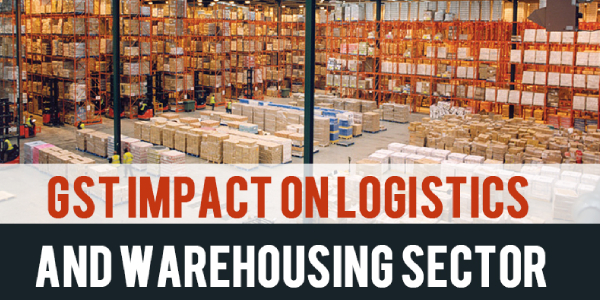 Impact of Goods and Service Tax Concept of Huge distribution warehouse with high shelves and loaders.
